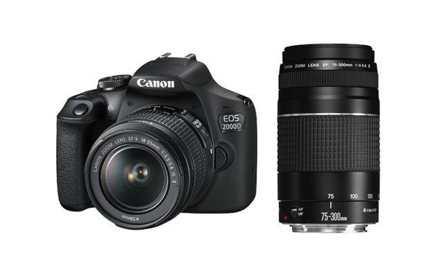 Фотоапарат Canon EOS 2000D тяло + Обектив Canon EF-s 18-55mm f/3.5-5.6 IS II + Обектив Canon EF 75-300mm f/4-5.6 III