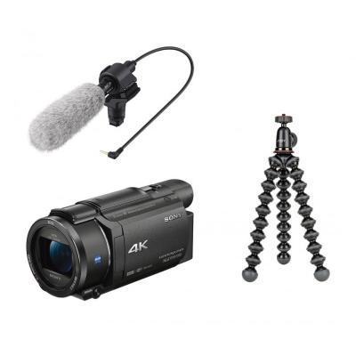 Видеокамера Sony AX53 4K Handycam + Микрофон Sony ECM-CG60 + Гъвкав статив JOBY GorillaPod 1K Kit