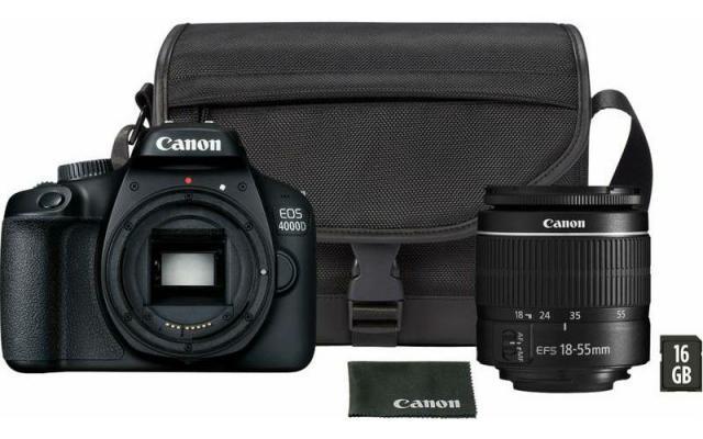 Фотоапарат Canon EOS 4000D тяло + Обектив Canon EF-s 18-55mm f/3.5-5.6 III Travel kit