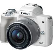 Фотоапарат Canon EOS M50 WhiteТяло + Обектив Canon EF-M 15-45mm f/3.5-6.3 IS STM + Батерия Li-Ion Canon LP-E12