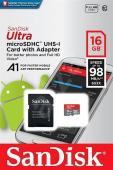 Памет microSDHC SanDisk Ultra 16GB (98MB/s) + SD Адаптер