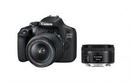 Фотоапарат Canon EOS 2000D тяло + Обектив Canon EF-s 18-55mm f/3.5-5.6 IS II + Обектив Canon EF 50mm f/1.8 STM
